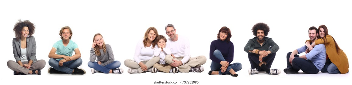 Full body people sitting on the floor