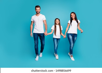 Full body photo of daddy mommy and small lady walking down street to zoo wear casual outfit isolated blue background