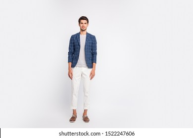 Full body photo of focused charming freelancer ready to work in company wear checkered plaid blazer jacket footwear pants trousers isolated over white background