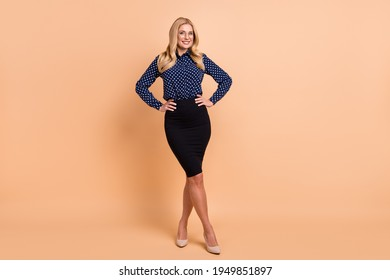 Full body photo of young attractive business woman happy positive smile confident formalwear isolated over beige color background
