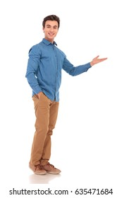 full body picture of a casual presenting something  on white background