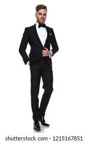 full body picture of a young elegant man in tuxedo , standing on white background
