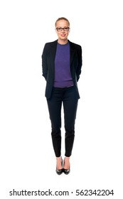 Business attire images stock photos vectors shutterstock full body portrait of beautiful smart young businesswoman in business attire wearin black eyeglasses standing fbccfo Choice Image