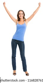 Full body portrait of happy gesturing cheerful smiling woman, isolated over white background