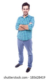 Full body portrait of a happy man, isolated on white background