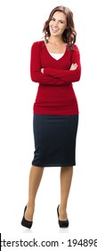 Full body portrait of happy smiling young businesswoman in smart red clothing, isolated over white background