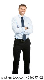 Full body portrait of happy smiling businessman with crossed arms, isolated on white background. Success in business, job and education concept shot.