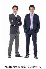 Full body portrait of two businessmen