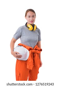 Full body portrait of a woman worker in Mechanic Jumpsuit with helmet and earmuffs isolated on white background clipping path
