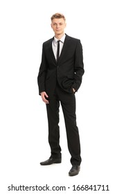 Full body portrait of young business man isolated on white