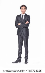 Full body portrait of young businessman on white background