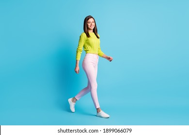Full body profile side photo of young beauiful woman smile go walk weekend isolated over blue color background