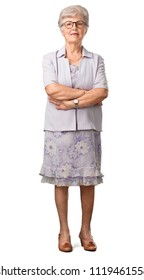 Full body senior woman crossing his arms, smiling and happy, being confident and friendly