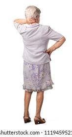 Full body senior woman showing back, posing and waiting, looking back