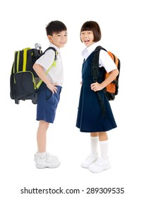 Full body shot of asian primary school students
