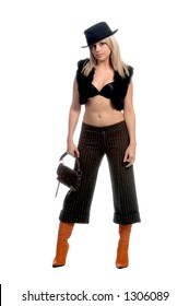 Full body shot of a beautiful young blond pop star in a black fur vest, bra, fedora and tweed pants and orange leather boots