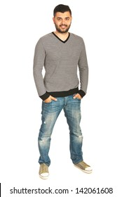 Full body shot of casual man in striped shirt and jeans isolated on white background