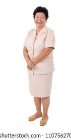 full body shot of cheerful Asian senior woman, isolated on white