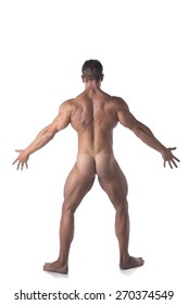 Full Body Shot of Fit Naked Man Striking a Pose Facing Back, Isolated on White Background.