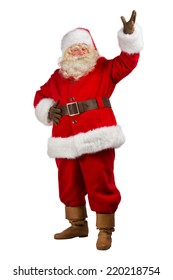 Full Body Shot of Santa Claus with his hands open isolated on white background