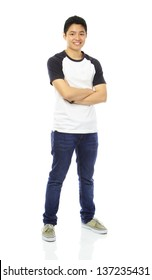 Full body shot of a teenager in casual attire