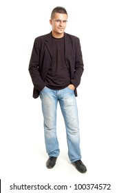 full body shot  of a young man, isolated on white