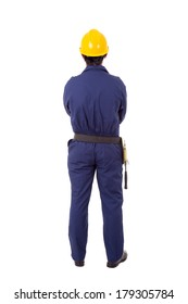 Full body of a worker from back, isolated on white