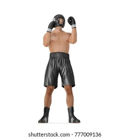 Full body young boxer man over white. 3D illustration