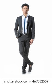 Full body young business man portrait isolated on white background