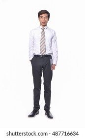 Full body young Businessman holding Digital Tablet