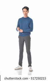 Full body Young casual man â??white background