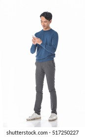 Full body Young casual man use phone â??white background