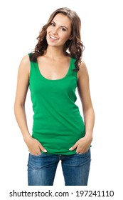Full body of young cheerful smiling woman in smart green casual clothing, isolated over white background