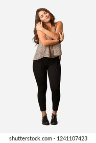 Full body young curvy plus size woman giving a hug