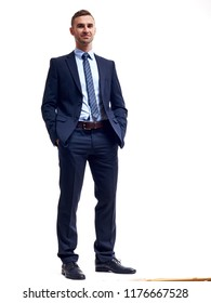 Full body of young handsome business man isolated on white background.