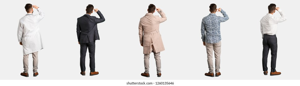 Full body young man collection or set from behind thinking about something