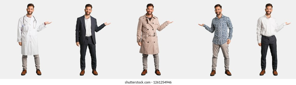 Full body young man collection or set holding something with hand