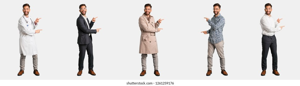 Full body young man collection or set pointing to the side with finger