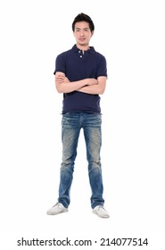 Full body young man standing with arms crossed-white background