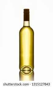 Full bottle white wine in back lit white isolated