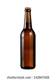 Full brown beer bottle