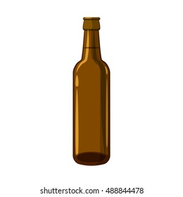 Full brown beer bottle icon in cartoon style isolated on white background