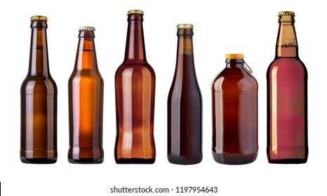Full brown beer bottle on white background isolated