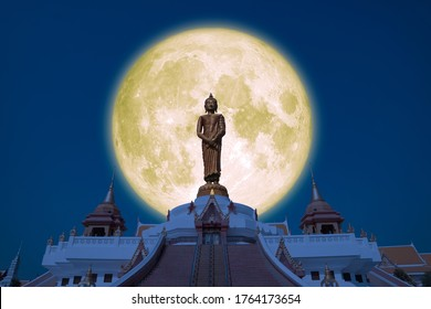 Full Buck moon on night sky in the Asanha bucha day back Sunday Buddha, Elements of this image furnished by NASA