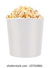 Full bucket of popcorn. Isolated on white