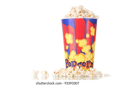 Full bucket of popcorn isolated on white
