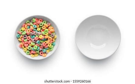 Full with cereal bowl and empty bowl isolated on white background