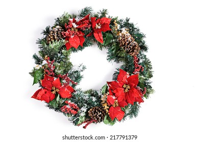 Full Christmas Wreath With Snow On White Background