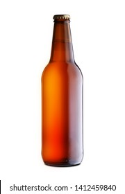 full closed bottle of beer on a white background