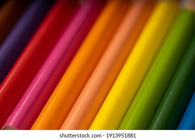 Full color close up Colored pencils Out of focus